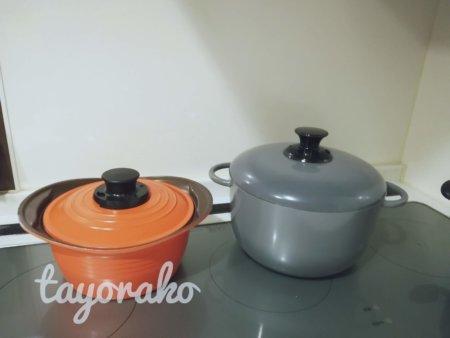 アイリスオーヤマの無加水鍋2つ